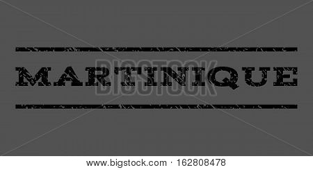 Martinique watermark stamp. Text tag between horizontal parallel lines with grunge design style. Rubber seal stamp with scratched texture. Vector black color ink imprint on a gray background.