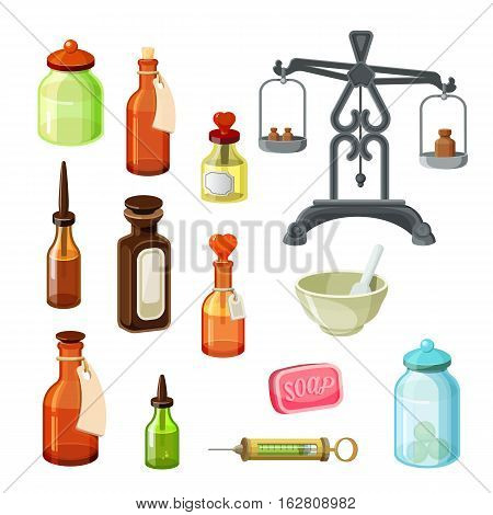 Apothecary vector set. Vintage medicine bottles, pharmaceutical scales, soap, bowls, oils and shampoos isolated on white. Essential oils and cosmetic products. Glass vials and flasks. Vector