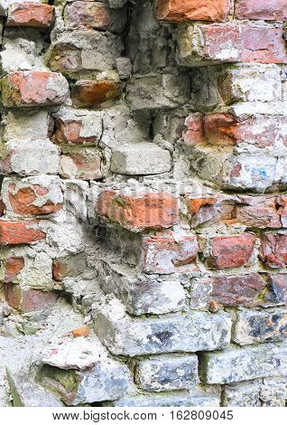 Dilapidated, old brickwork, the background texture image.