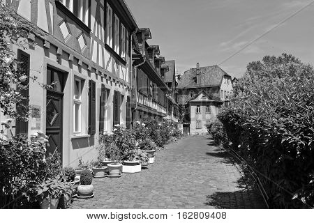 historic old town Frankfurt-Hoechst with its half-timbered houses