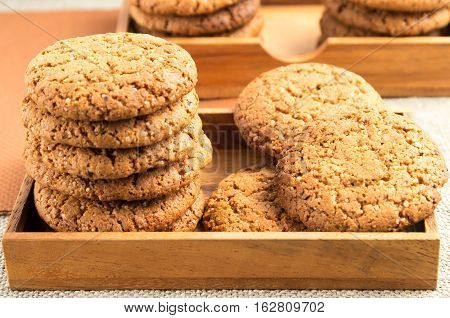 Close-up View On Oat Biscuits In Wooden Boxes