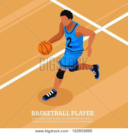 Sport isometric template with running and dribble basketball player on the court isolated vector illustration