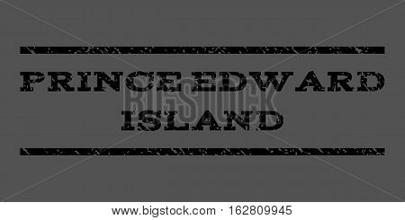 Prince Edward Island watermark stamp. Text tag between horizontal parallel lines with grunge design style. Rubber seal stamp with dirty texture. Vector black color ink imprint on a gray background.