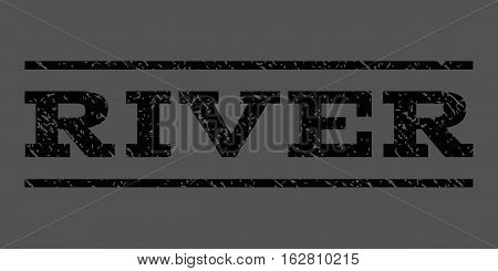 River watermark stamp. Text caption between horizontal parallel lines with grunge design style. Rubber seal stamp with dust texture. Vector black color ink imprint on a gray background.