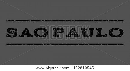 Sao Paulo watermark stamp. Text tag between horizontal parallel lines with grunge design style. Rubber seal stamp with dirty texture. Vector black color ink imprint on a gray background.