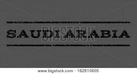 Saudi Arabia watermark stamp. Text caption between horizontal parallel lines with grunge design style. Rubber seal stamp with scratched texture. Vector black color ink imprint on a gray background.