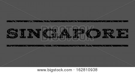 Singapore watermark stamp. Text caption between horizontal parallel lines with grunge design style. Rubber seal stamp with unclean texture. Vector black color ink imprint on a gray background.