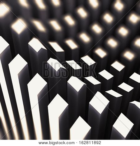 Pattern Of White 3D Glowing Columns