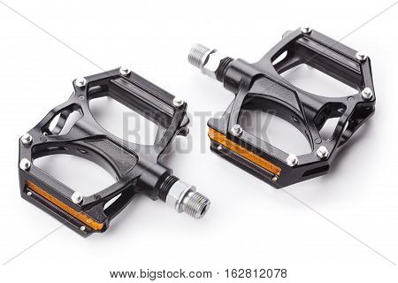 black bicycle pedals isolated on white background