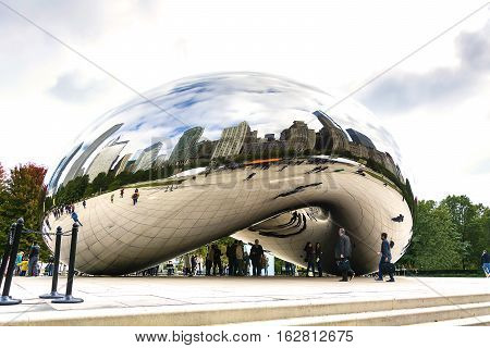 Chicago IL USA october 28 2016: Cloud Gate also known as the Bean is one of the parks major attractions. Admission is free.
