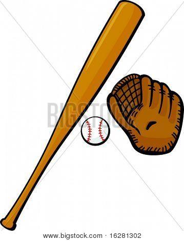 baseball bat, glove and ball