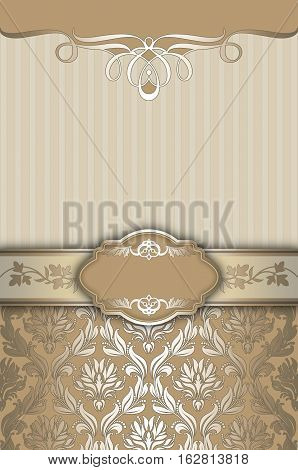 Vintage background with decorative borderframe and old-fashioned patterns. Book cover or vintage card design.