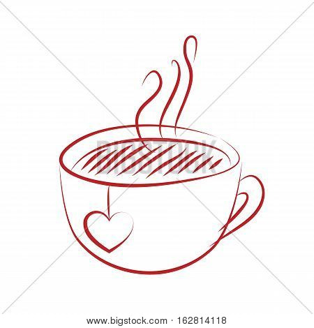 tea cup with red heart isolted on white background. vector illustration