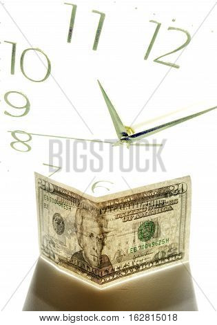20 banknote U.S.A. against the background of clock