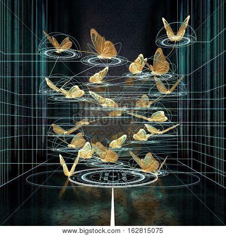 mathematical trajectory butterfly flight in dark. 3d rendering