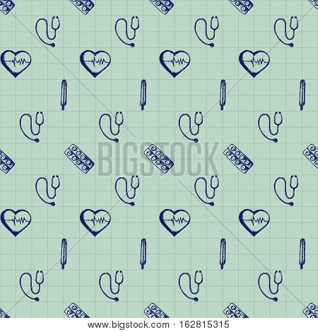 Healthcare and medicine. Vector doodle seamless pattern with thermometer, heart and stethoscope. Medical hand drawn icons on checkered background.