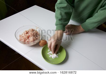 Preparing Mince For Meatballs