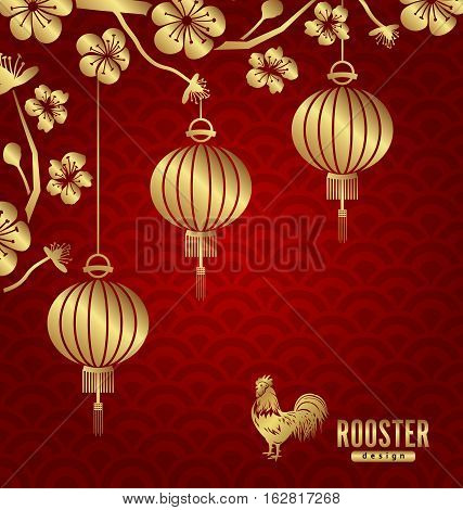 Happy Oriental Card for Chinese New Year 2017, Lanterns, Sakura Blossom Flowers and Golden Rooster - Vector