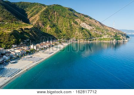 The beach of Scilla (Calabria southern Italy) during the summer