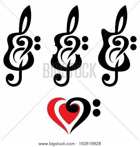 Different kinds of guitars violin treble clef. Vektor set of patterns for logo design