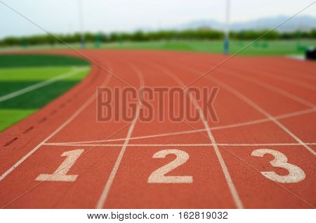 The start point of running track in race course