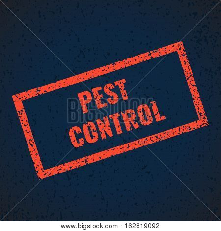 Pest control red grunge stamp sign on blue background. Anti pest inscription. Perfect for exterminator service and pest control companies. Isolated vector illustration.