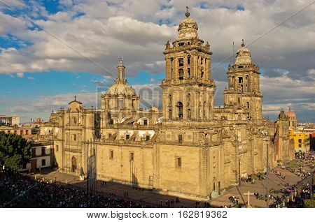 Cathedral on Zocalo beautiful top view Mexico City Mexico