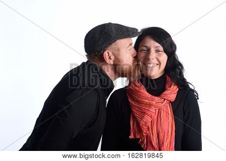 Couple kissing on a white background, kiss