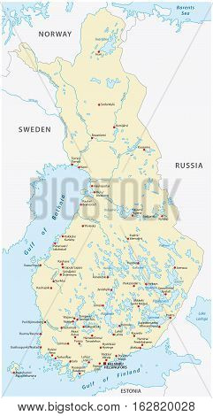 Vector map of the republic of finland