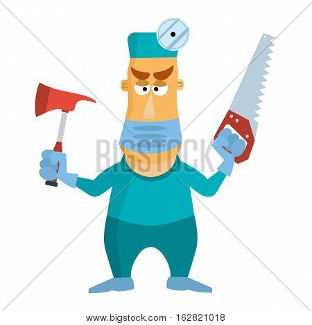 Surgeon doctor using mask axe and saw. Vector illustration isolated on white