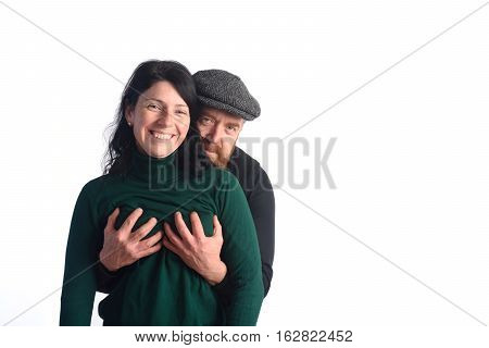 The man who touches his partner's breasts