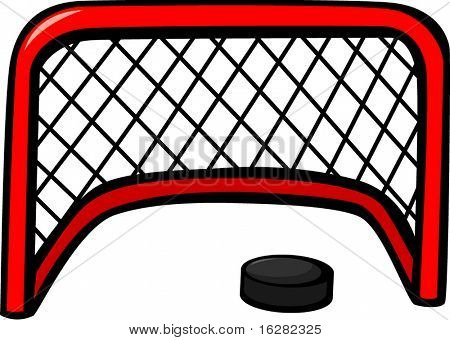 ice hockey goal net and puck