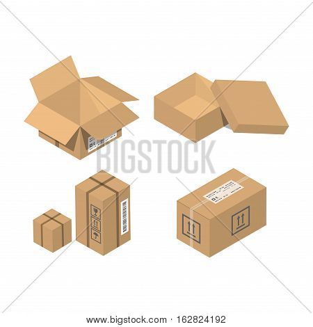 Move box service vector illustration. Craft empty package isolated on white background. Business relocation transportation cargo service. Shopping delivery tool.