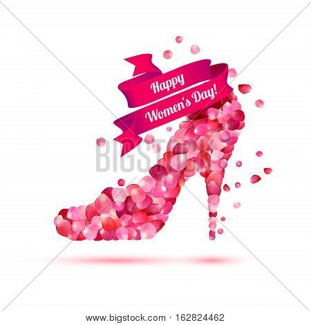 Happy woman's day! 8 March holiday. High heels shoe. Pink rose petals