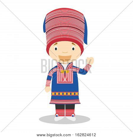Character from Lapland dressed in the traditional way Vector Illustration. Kids of the World Collection.