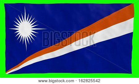 Marshall Islands Flag Waving over green screen. Part of a set