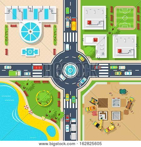 Big crossroad divided city on four parts buildings construction and pond top view flat poster vector illustration