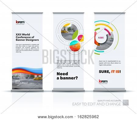 Abstract business vector set of modern roll Up Banner stand design template with soft waves, smooth shapes for exhibition, fair, show, exposition, expo, presentation, festival, parade, events.