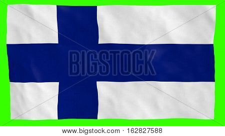 Finland Flag textured details blowing in the wind over green background (Fahne Flagge Finnland)