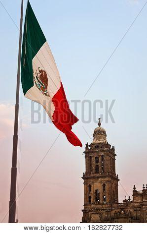 Big Mexican Flag on Zocalo near Cathedral Mexico City Mexico