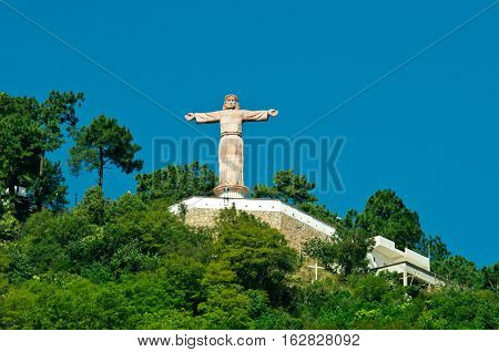 Monumental Christ At Atachi Hills. Taxco, Mexico