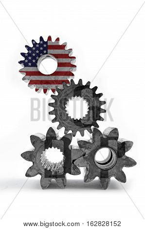 Cog gears mechanism closeup.Concept gross domestic product.