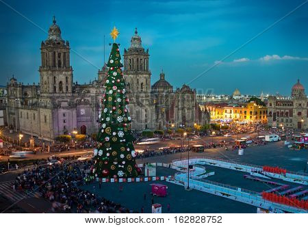 Mexico City Mexico - December 3 2016: Metropolitan Cathedral and Christmas Tree Decorations in Zocalo Mexico City