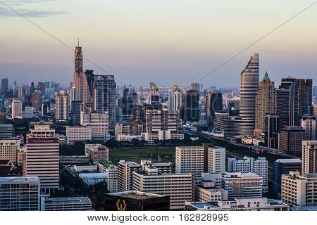 Bangkok Thailand - 17 December 2016: View of the Bangkok Skyline from the central business district Silom.
