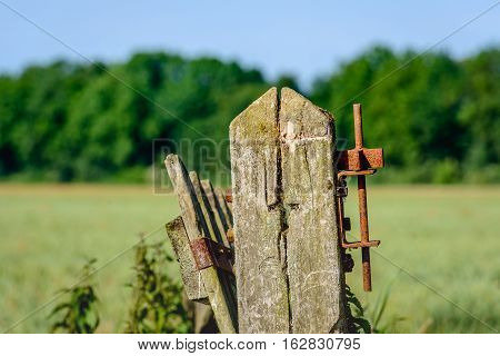 Closeup of a crooked old wooden gate and a wooden pole with a rusty hinge at the edge of a Dutch meadow on a sunny day during the summer.