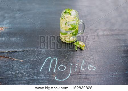 Glass Of Mojito With Lime And Mint Ice Cube Close-up On Dark Wood Background