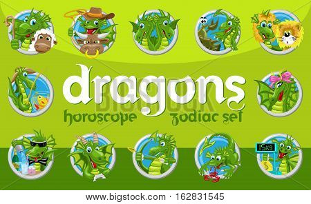 Dragons horoscope set. Collection of twelve zodiac signs with dragons