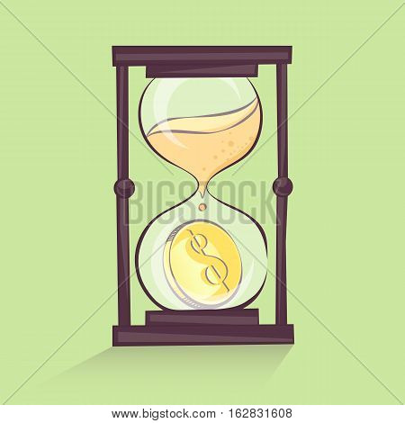 Time is money concept hourglass cartoon illustration with dollar sandglass retro style vector image
