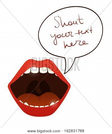 Open mouth with speak bubble for your tex, vector cartoon illustration isolated on white background