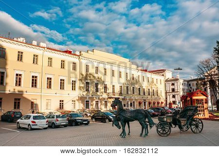 Statue Of Carriage - The Governor Korneev The Carriage In Front Of Town Hall In Historical District Upper Town In Minsk, Belarus